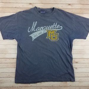VTG 90s Marquette University Faded Blue Tee Shirt